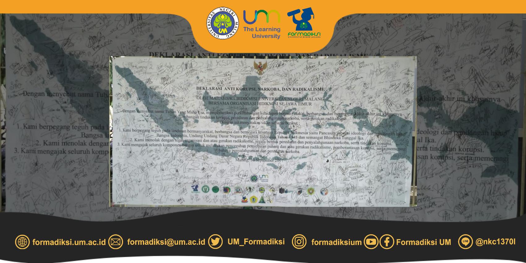 Deklarasi Mahasiswa Baru Bidikmisi UM 2017 bersama Organisasi Bidikmisi Se Jawa Timur