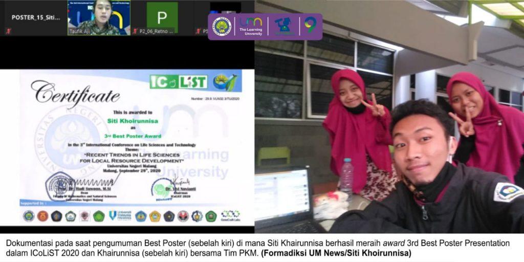 Ikuti Konferensi Ilmiah Internasional, Khoirunnisa Raih 3rd Best Poster Presentation, Prestasi, Bidikmisi, Mahasiswa, Formadiksi, UM, Universitas Negeri Malang